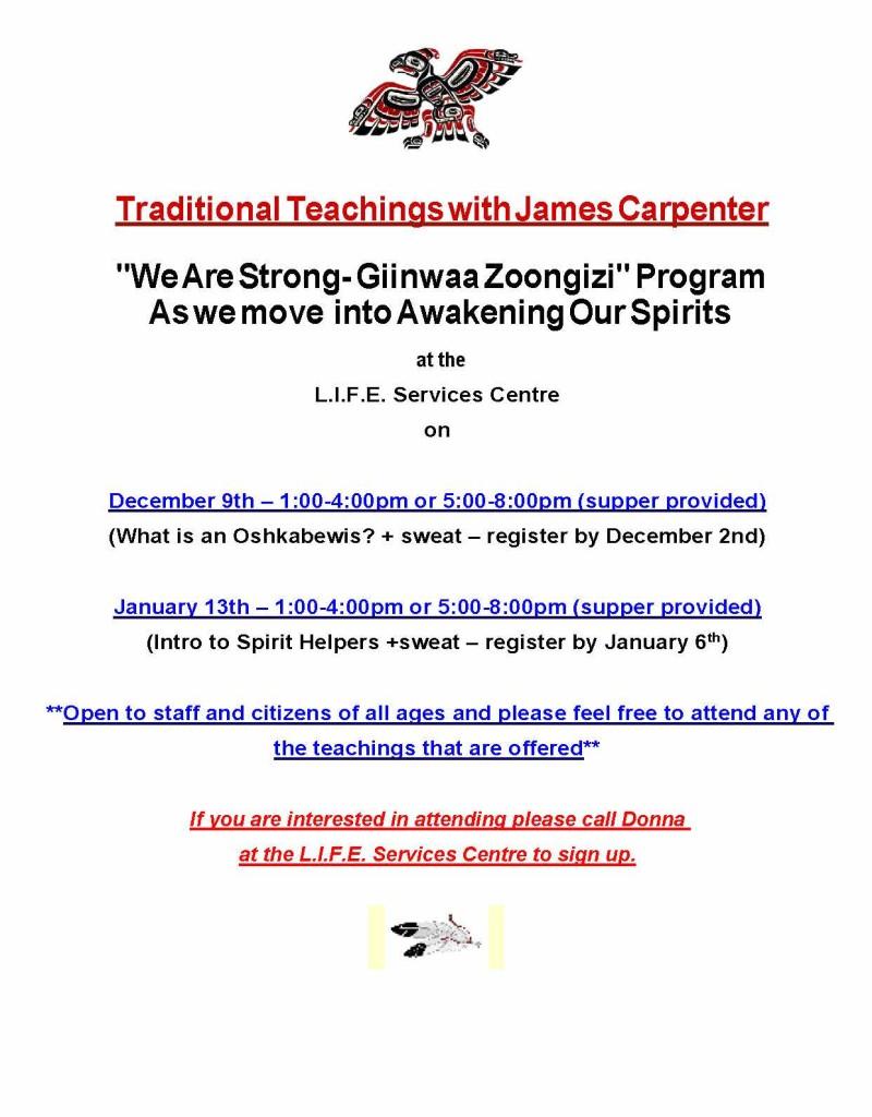 Upcoming Giinwaa Zoongizi Traditional Teachings